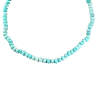 Michael Valitutti Palladium Silver Amazonite Roundelle Bead Toggle Necklace