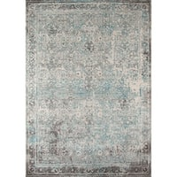 """Momeni Luxe Turquoise/Grey/Cream Area Rug - Turquoise - 5'3"""" x 7'6"""""""