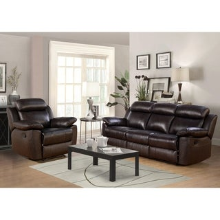 Abbyson Braylen 2 Piece Top Grain Leather Reclining Living Room Set