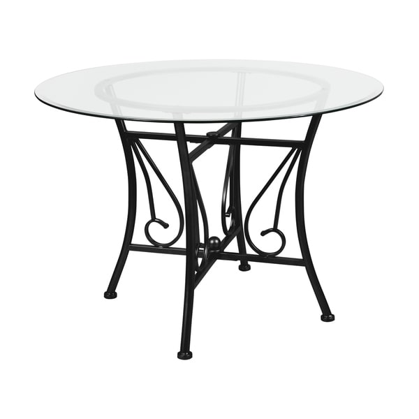 Glass Kitchen Tables For Sale: Shop Princeton 42'' Round Glass Dining Table With Metal