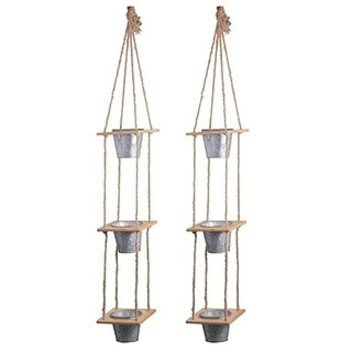 Set of 2 Shelburne 3-Tier Hanging Planters, 7x7x51 inches