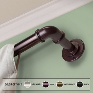 InStyleDesign Modern Pipe 1 inch Blackout Adjustable Curtain Rod - Black - 84 to 120 inches (As Is Item)