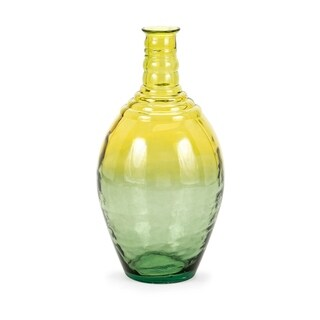 Aloha Green and Yellow Wide Oversized Recycled Glass Vase