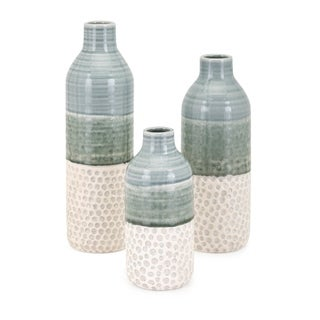 Dahlia Green and White Vase (Set of 3)
