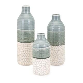 Dahlia Green and White Vase (Set of 3)