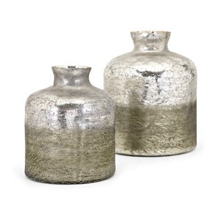 Zaara Silver and Green Ombre Vase (Set of 2)