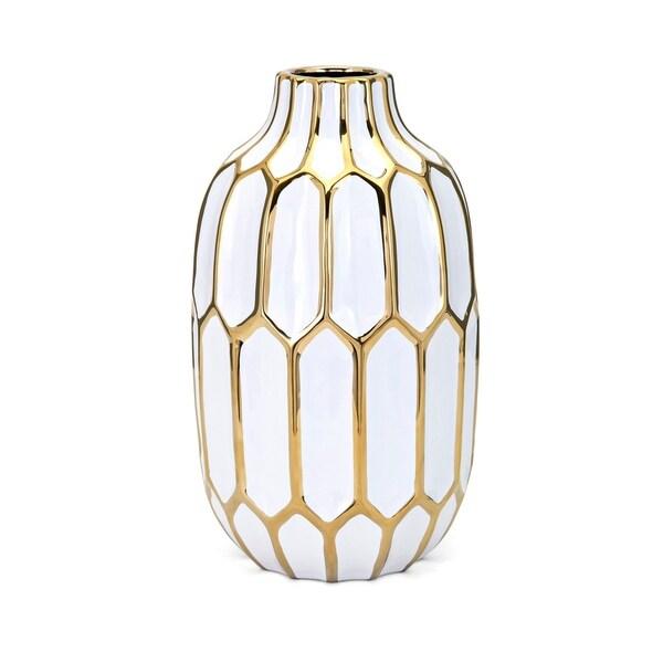 Flynn White and Gold Medium Vase