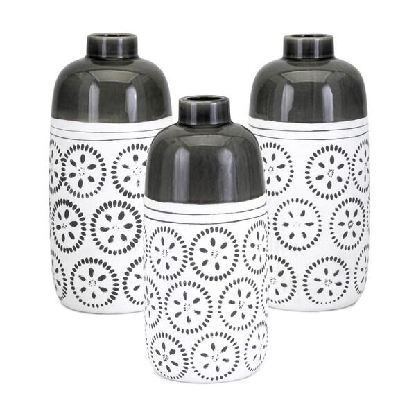 Brooke White and Black Vase (Set of 3)