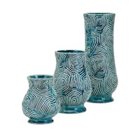 Nebat Teal Vase (Set of 3)