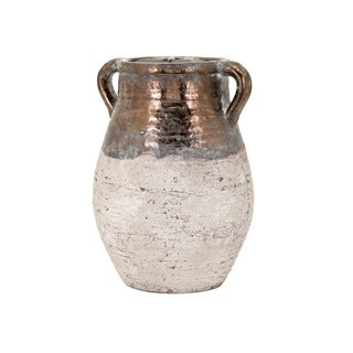 Taborri Ivory and Bronze Glaze Decorative Crock