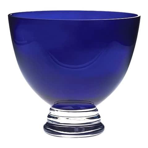"Majestic Gifts European Handmade Glass Round Footed Bowl - Cobalt 10.5"" Diameter"