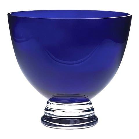"Majestic Gifts European Handmade Glass Round Footed Bowl - Cobalt 9.5"" Diameter"