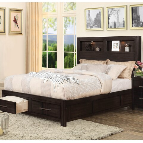 Furniture of America Morrow Transitional Storage Bed with Bookcase Headboard