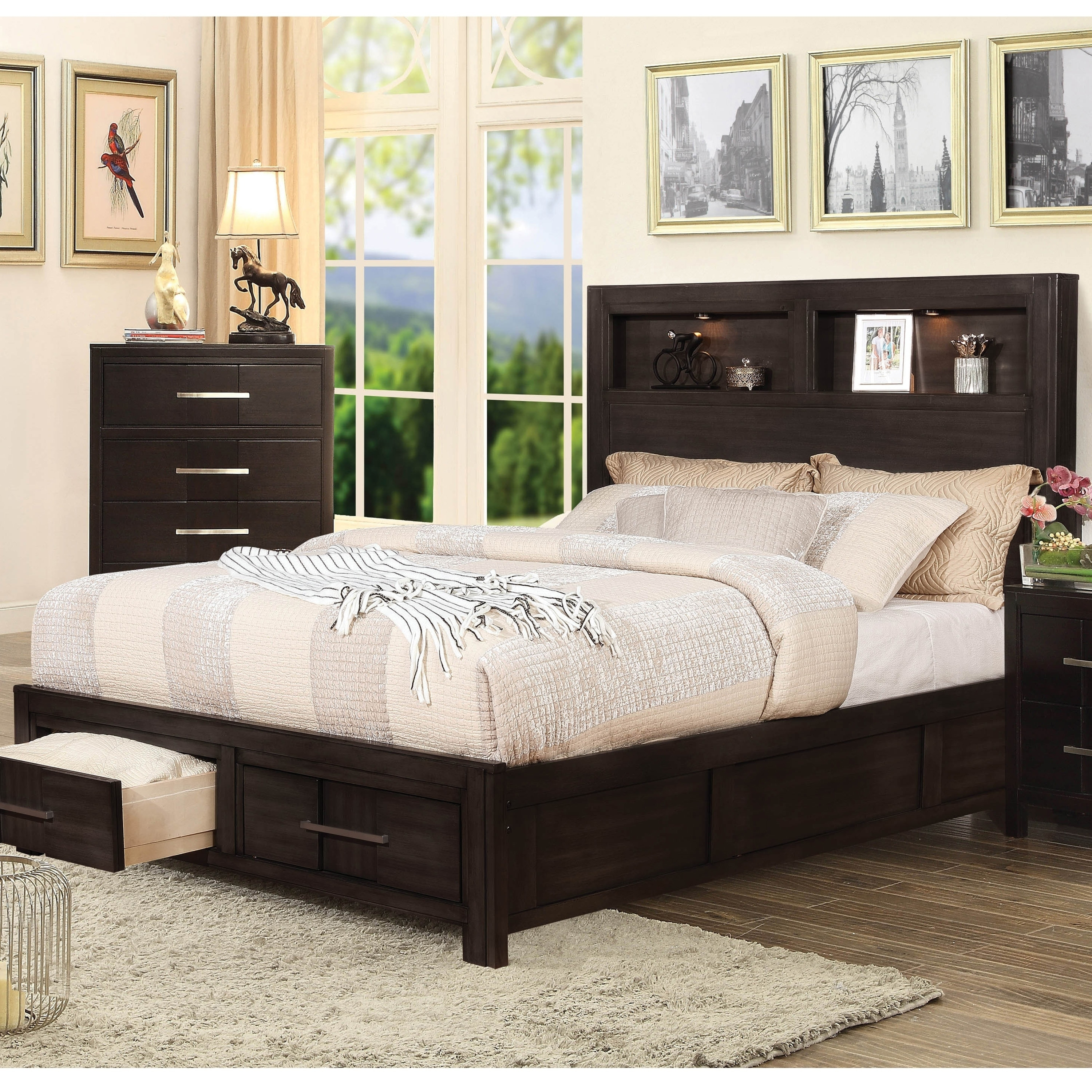 Furniture Of America Dito Transitional Solid Wood Storage Bed