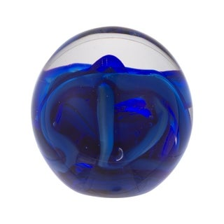 Svirla Decorative Ball-Blue & Clear, 3.5x4 inches