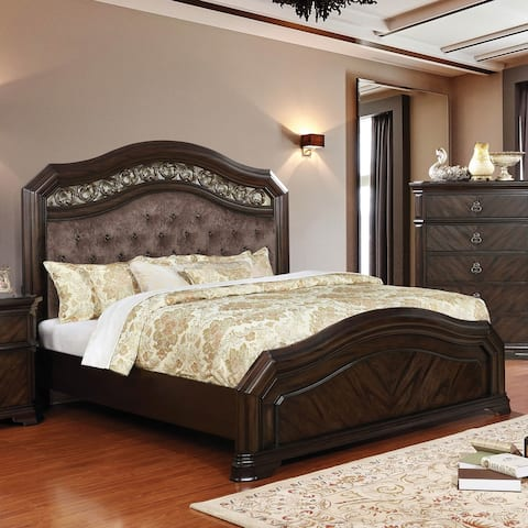 Furniture of America Dixi Traditional Espresso Solid Wood Paned Bed