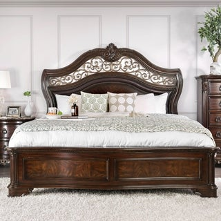 Aiden Traditional Brown Cherry Carved Panel Bed by FOA