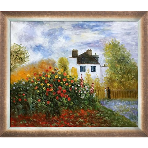 Claude Monet 'The Garden of Monet at Argenteuil' Hand Painted Oil Reproduction