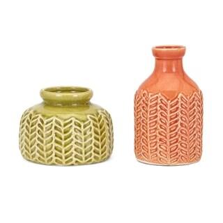 Matilida Green and Orange Vase (Set of 2)