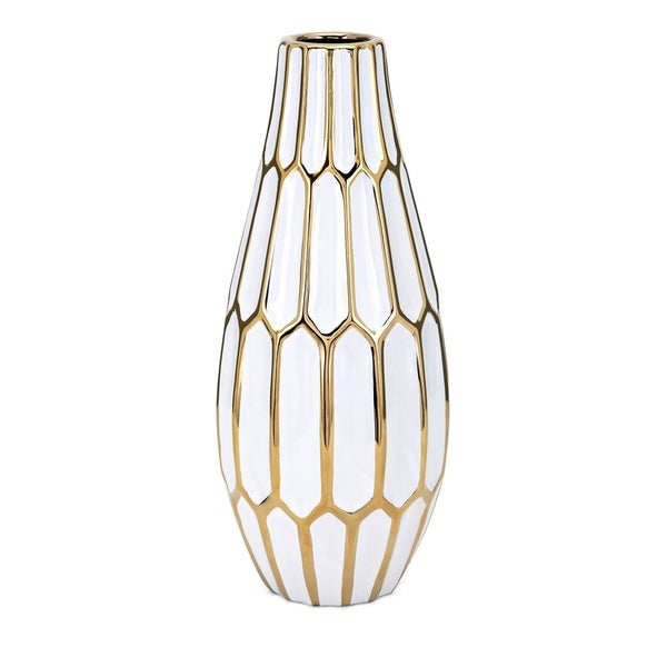 Shop Flynn White And Gold Large Vase Free Shipping Today