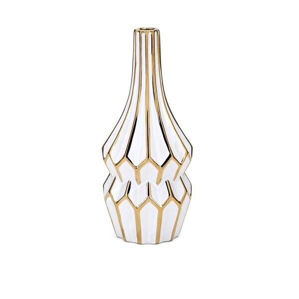 Ceramic White and Gold Vase