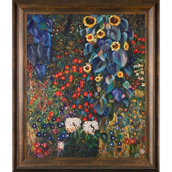 Gustav Klimt 'Farm Garden with Sunflowers' Hand Painted Oil Reproduction