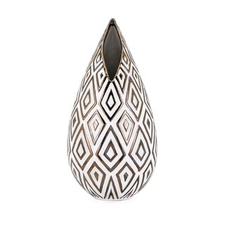Thea Glazed Brown and White Tall Vase