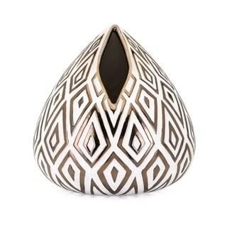 Thea Metallic Gold and White Short Vase