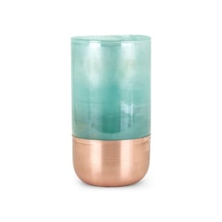 Beau Green and Copper Small Glass Vase