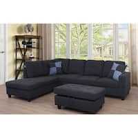 Star Home Living Dark Grey Upholstered Transitional Sectional with Storage Ottoman