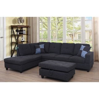 Star Home Living Dark Grey Upholstered Transitional Sectional with Storage Ottoman (2 options available)