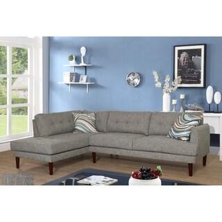 Star Home Mid Centuru Grey Upholstered Living Room Sectional Sofa Set