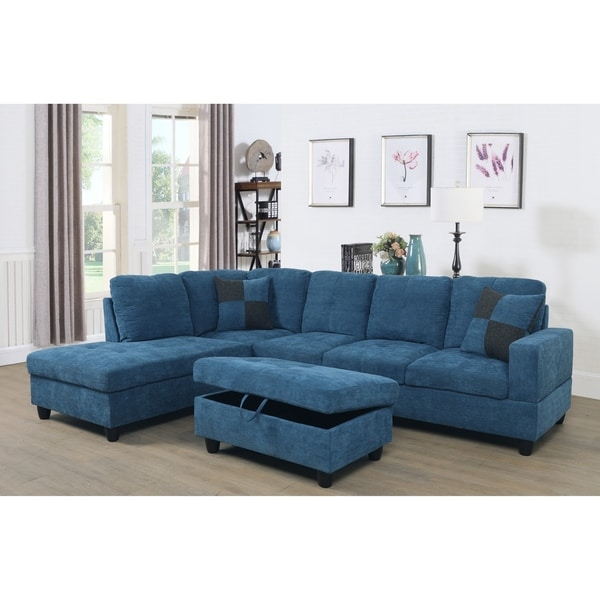 Star Home Living Transitional Blue Upholstered Sectional With Storage  Ottoman
