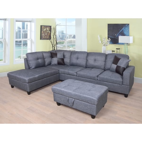 Pleasing Star Home Living Grey Upholstered Transitional Sectional With Storage Ottoman Machost Co Dining Chair Design Ideas Machostcouk