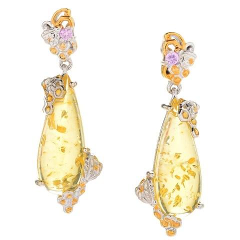 Michael Valitutti Palladium Silver Golden Amber & Light Pink Sapphire Dangle Earrings