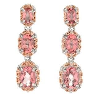 Michael Valitutti Palladium Silver Morganite Color Topaz Dangle Earrings