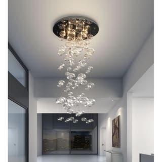 Stainless steel ceiling lights for less overstock pyper marketing wallys glass and stainless steel 10 light chandelier aloadofball Images