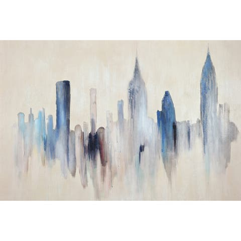 Renwil Blue Cityscape - Small Rectangular Canvas Wall Art - Multi-color/White - 36 x 24