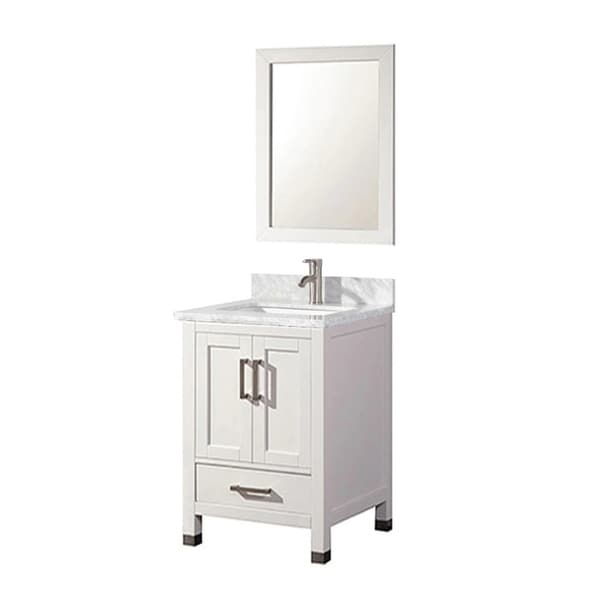 24 Inch Traditional Freestanding White Bathroom Vanity with Italian Carrara Marble Top