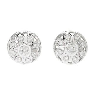 Michael Vatilutti Palladium Silver Diamond Dome Stud Earrings
