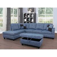 Star Home Living Blue Upholstered Transitional Sectional with Storage Ottoman