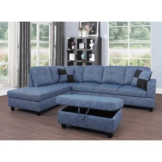 Star Home Living Blue Upholstered Transitional Sectional with Storage Ottoman (2 options available)