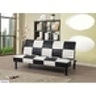 Star Home Faux Leather Checkered Living Futon Convertible Sofa
