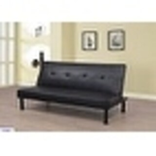 Star Home Black Faux Leather Upholstered Living Futon Convertible Sofa