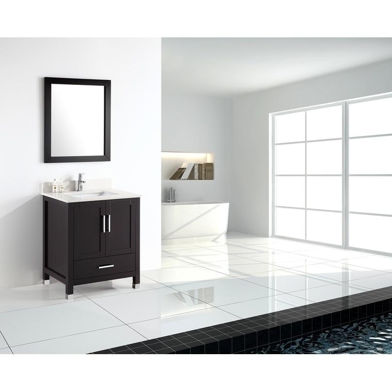 24 Inch Modern Freestanding Espresso Bathroom Vanity With Quartz Top Overstock 21160763