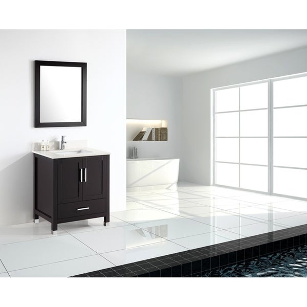 Carter- 24 inch Modern Freestanding Espresso Bathroom Vanity with Quartz Top
