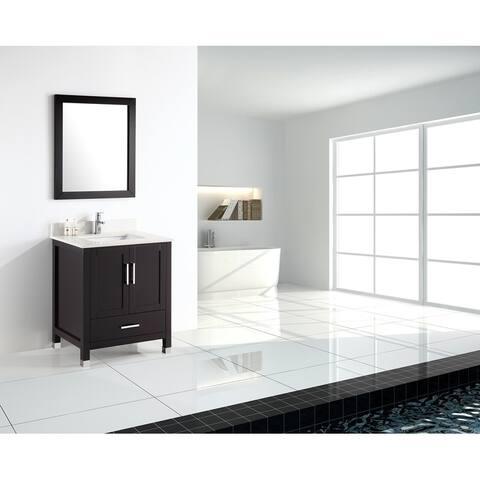 24 Inch Modern Freestanding Espresso Bathroom Vanity with Quartz Top