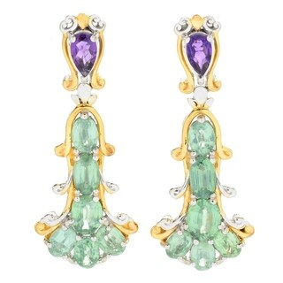 Michael Valitutti Palladium Silver Mint Kyanite & Amethyst Dangle Earrings