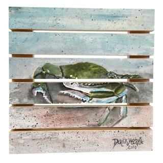 ArtWall Derek McCrea 'Blue Crab Acrylic Painting large' Wood Pallet Art