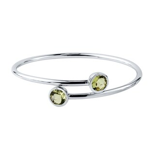 Auriya Gold over Silver 3ct Round Lemon-Green Quartz Stackable Bypass Bangle Bracelet